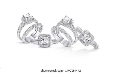 engagement diamond wedding ring group on white,isolate