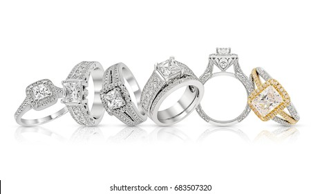 engagement diamond wedding ring group on white,isolate
