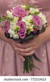 engagement flower bouquet focus on engagement ring