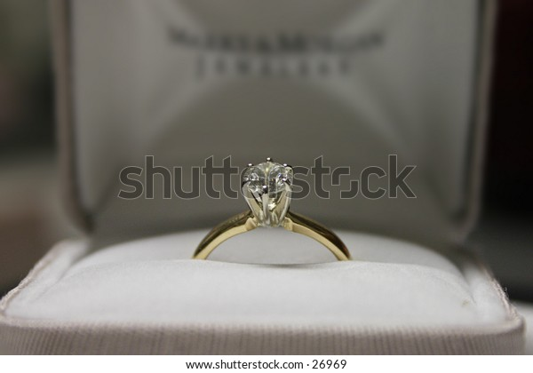 An engagement ring in focus with the background out of focus.