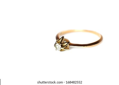 Engagement ring on white background