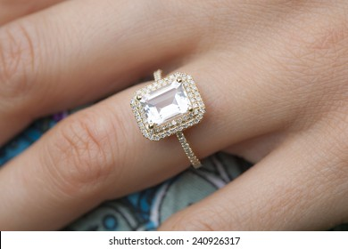 engagement ring on woman's hand