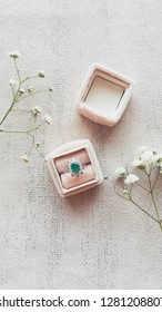engagement ring in velvet vintage box with flovers