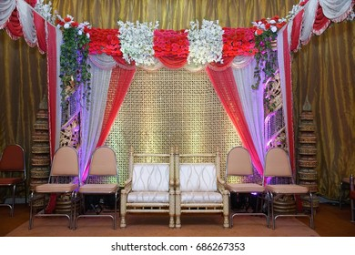 Engagement Wedding reception stage with flower and light decoration