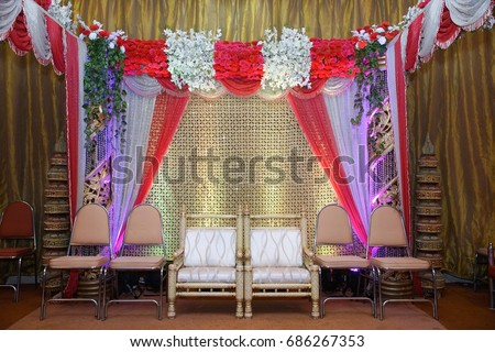 Engagement Wedding Reception Stage Flower Light Stock Photo Edit