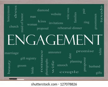 Engagement Word Cloud Concept on a Blackboard with great terms such as diamond, ring, kiss, proposal and more.