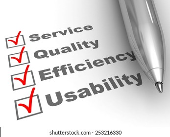 Engagements evaluation. Pen on evaluation form, with Service, Quality, Efficiency, Usability checked.