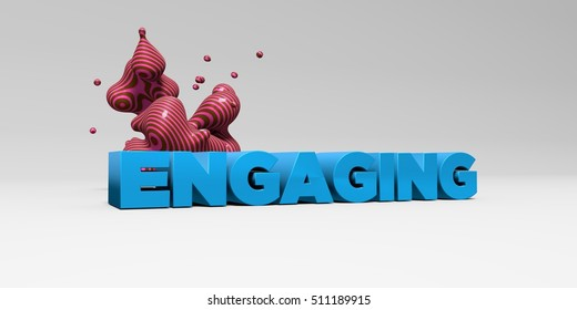 ENGAGING -  color type on white studiobackground with design element - 3D rendered royalty free stock picture. This image can be used for an online website banner ad or a print postcard.
