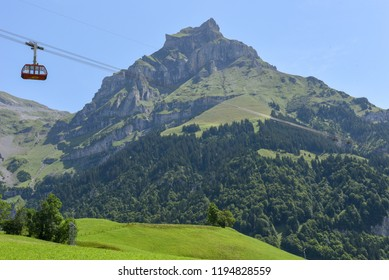 Engelberg, Switzerland - 31 July 2017: Cableway to mount Brunni at Engelberg on the Swiss alps