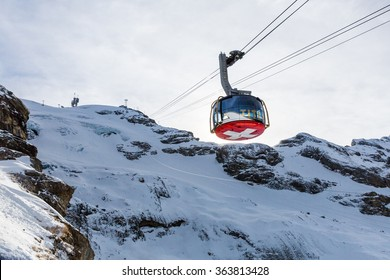 ENGELBERG, SWITZERLAND - DECEMBER 11: Outside views of the aerial passenger line of the ski resort Engelberg on December 11, 2015. Engelberg is a popular Ski resort in the central Swiss alps.