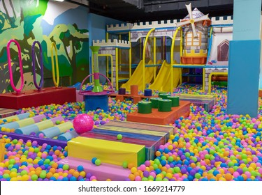 Engels, Russia - August 28, 2018: Child plays fun in the entertainment center. Game center