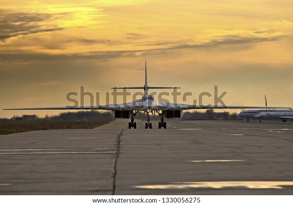 Engels, Saratov Region, Russia - November 08,2012: Routine busy day at the airbase. Flying of Tu-160 (a supersonic, variable-sweep wing heavy strategic bomber)