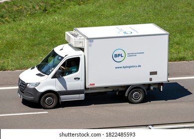 ENGELSKIRCHEN, GERMANY - JUNE 24, 2020: BPL temperature controlled Mercedes-Benz Sprinter van on motorway.