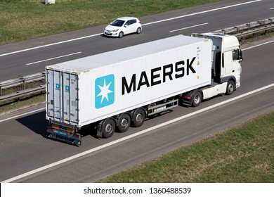 ENGELSKIRCHEN, GERMANY - MARCH 30, 2019: Truck with Maersk container on motorway.