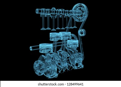 Engine (3D x-ray blue transparent isolated on black)