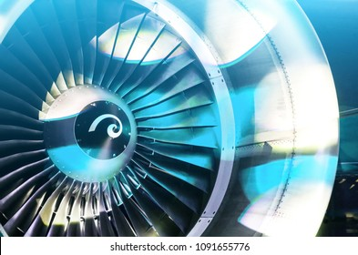 Engine of the airplane with blades is illuminated with light of disco, the party shines of soffits