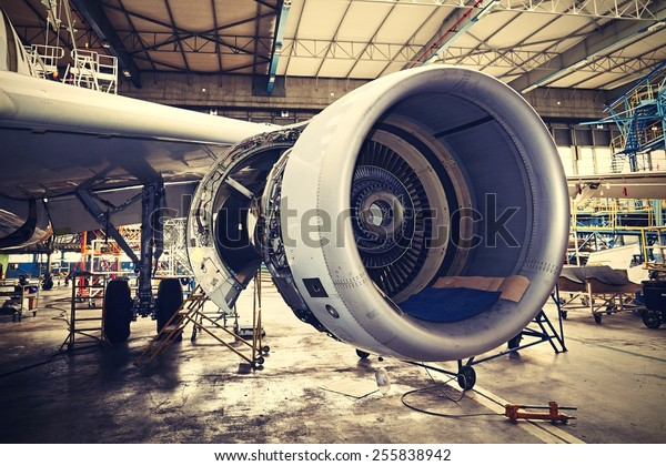 Engine of the airplane under heavy maintenance