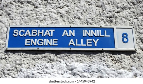 Engine Alley street sign in English and Irish language in the Dublin Liberties area of the city centre.