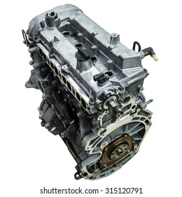 The engine of the car on a white background