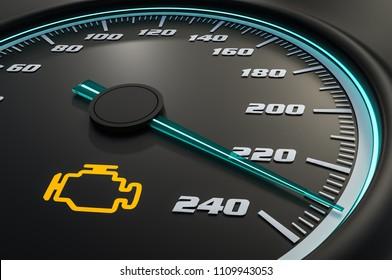 Engine check light on car dashboard. 3D rendered illustration.