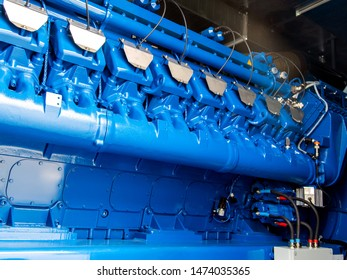 Engine of CHP unit. Diesel and gas industrial electric generator.