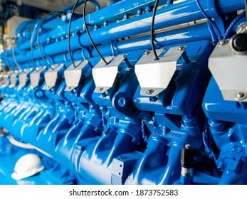 Moteur de l'unité CHP. Générateur électrique industriel diesel et gazier.