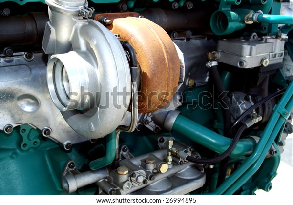 Engine close up - turbo charge turbine visible