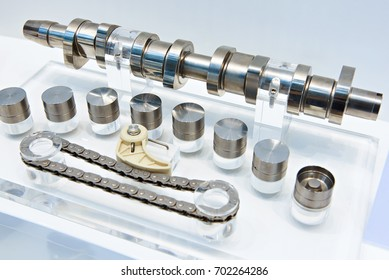 Engine components: camshaft, hydraulic valve tappet and timing chain