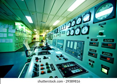 engine control room of the large container vessel