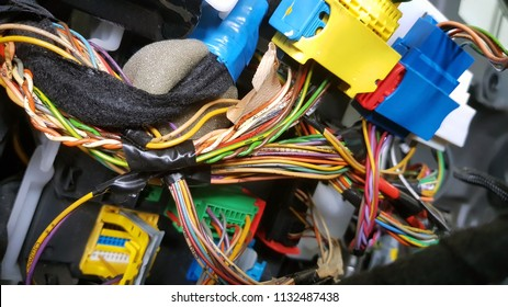 Engine control unit of the car, multicolored wires plug