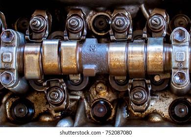 engine crankshaft in engine block