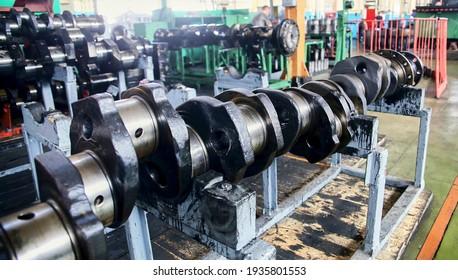 Engine crankshaft at the factory, Crankshaft, Warehouse, Shop, Locomotive, Train production and repair.
