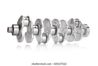 engine crankshaft on white