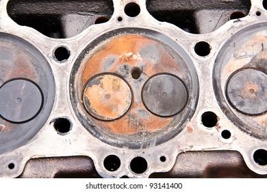 Engine cylinder . real used opened motor.