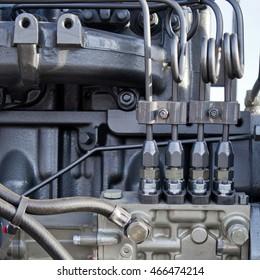 Engine details. Diesel engine. Motor truck background