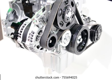 Engine with drive belt isolated on white background.