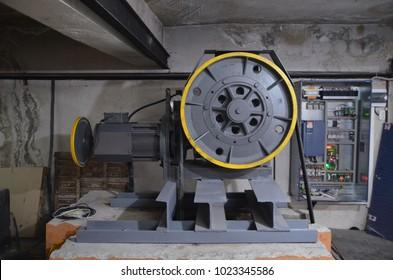 Engine elevator in the engine room