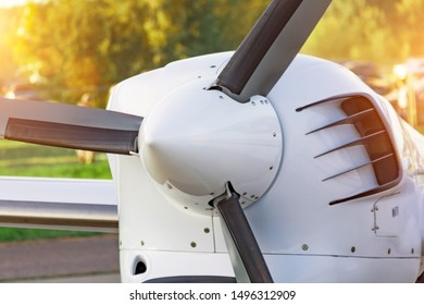 Engine of fan turboprop light engine airplane close up
