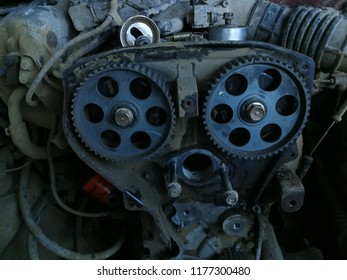 Engine front view with camshaft timing gears.
