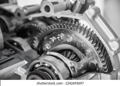 engine gear wheels, closeup view