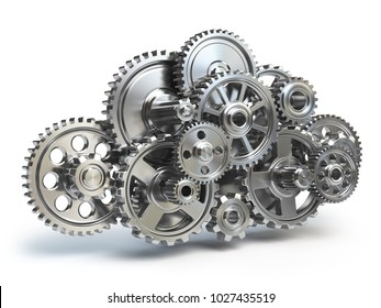 Engine gears in form of cloud isolated on white.  Cloud computing and networkin concept. 3d illustration