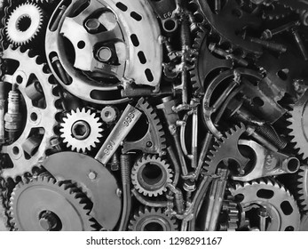engine gears as a graphic and abstract industrial or machine background, tool set