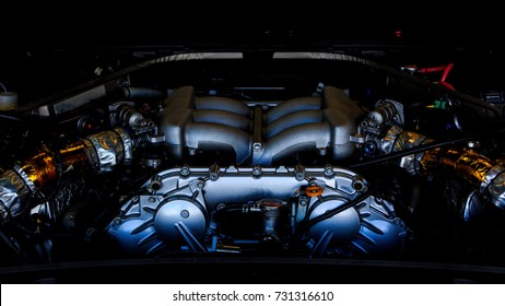 Engine inside super car, Super car engine.