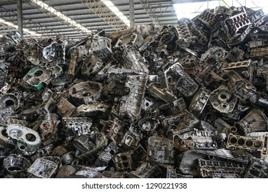 Engine junkyard, cracked engine block, aluminum for recycle