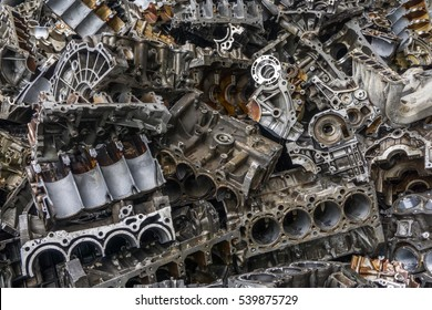 Engine junkyard. That old, cracked engine block may still have some life in it: it's recyclable. Several businesses devote themselves to the removal of such items for recycling.