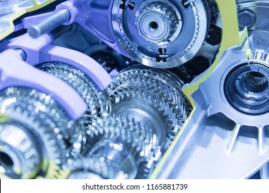 Engine models and gears on display at the auto show