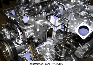 engine of modern car interior view