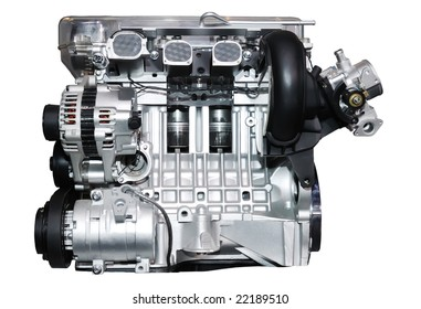engine of modern car with lots of details.