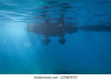Engine motor boat propeller underwater sea surface
