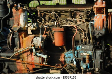 The engine of an old tractor